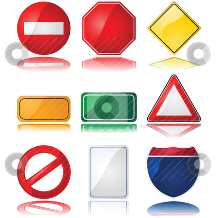 Traffic signs stock vector clipart, Set of glossy illustrations with different shapes of common traffic signs by Bruno Marsiaj