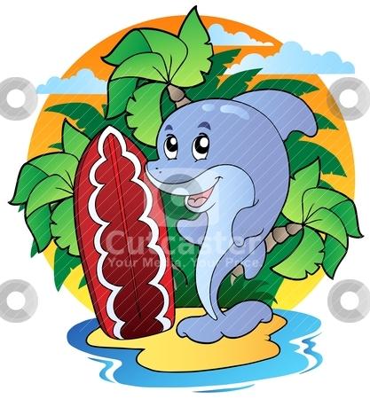 Dolphin with surfing board stock vector clipart, Dolphin with surfing board - vector illustration. by Klara Viskova