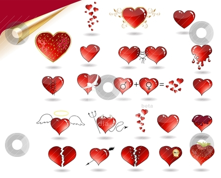 Collection of various hearts stock vector clipart, Vector Collection of various hearts. Heart as angel, devil, juicy strawberry, with golden leaf, ribbon, arrow, broken heart, etc. by megija