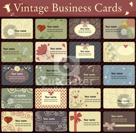 Vintage cards collection stock vector clipart, Collection of beautiful business cards. Harmonic colors, beautiful design. Vintage style by megija
