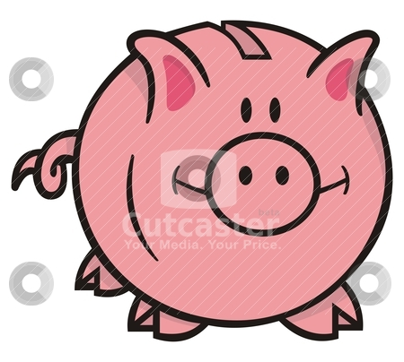 Piggy bank stock vector clipart, Smiling pink piggy bank cartoon illustration on white background looking front. by fractal.gr