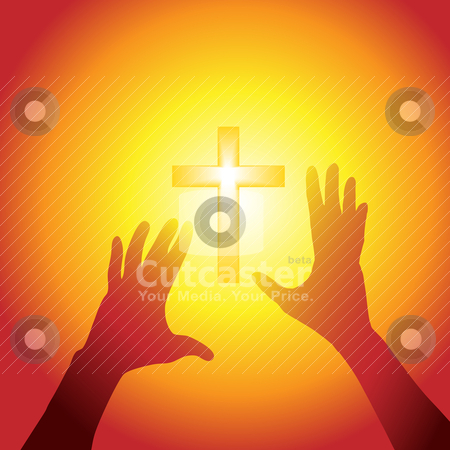 Hands reach out to cross in bright light stock vector clipart, Two hands of person silhouette reach out to a cross in bright light by Michael Brown