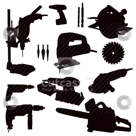 Power Tools stock vector clipart, Various Isolated Power Tools - black on white  by Snap2Art