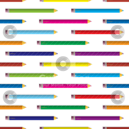 Colour pencil background stock vector clipart, Collection of brightly coloured pencil arranged in a seamless background pattern by Michael Travers