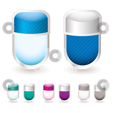 Glass icon tag stock vector clipart, Brightly coloured modern icon tags with transparent glass effect by Michael Travers