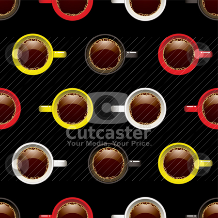 Coffee cup seamless background stock vector clipart, Coffee shop or cup seamless wallpaper background pattern by Michael Travers