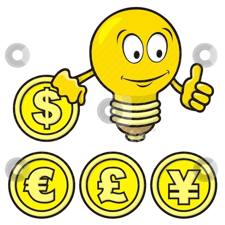 Bulb with coin stock vector clipart, Cartoon of smiling bulb giving thumbs up and holding a coin. by fractal.gr