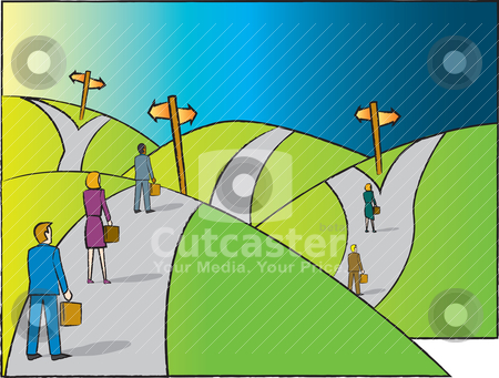 Pathways stock vector clipart, Business professionals on a road with multiple divergent paths to choose from. by Jamie Slavy