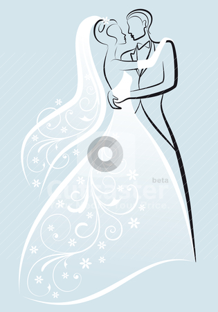 Wedding couple, vector stock vector clipart, bride and bridegroom kissing, vector illustration by Beata Kraus