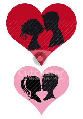 Couples kissing, vector stock vector clipart, adult and children couple kissing, vector illustration by Beata Kraus