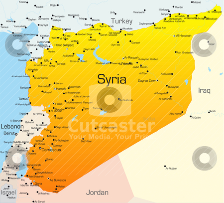 Syria  stock vector clipart, Abstract vector color map of Syria country by olinchuk