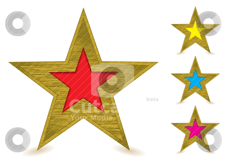 Brushed metal gold award stock vector clipart, Collection of brushed metal gold star awards with coloured centers by Michael Travers
