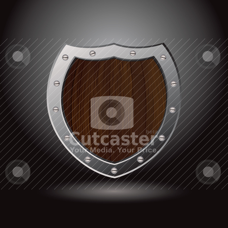 Wood shield blank stock vector clipart, Wood grain secure metal shield with spot light shadow by Michael Travers