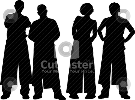 Four people stock vector clipart, Vector illustration of four people by olinchuk
