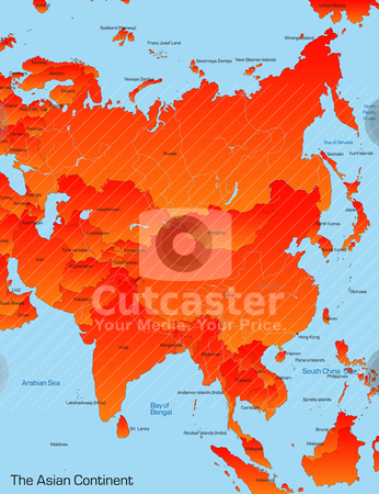 Map of asian continent  stock vector clipart, Abstract map of asian continent  by olinchuk