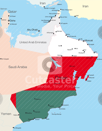 Oman stock vector clipart, Abstract vector color map of Oman country colored by national flag   by olinchuk