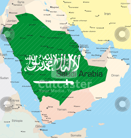 Saudi Arabia  stock vector clipart, Abstract vector color map of Saudi Arabia country colored by national flag  by olinchuk