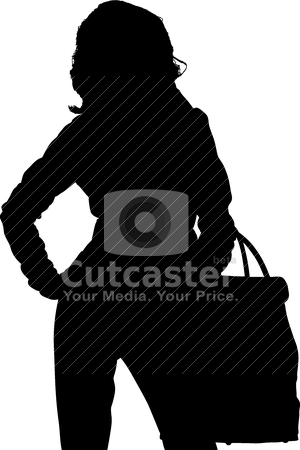 Shopping posing girl  stock vector clipart, Shopping posing girl vectors silhouette by olinchuk