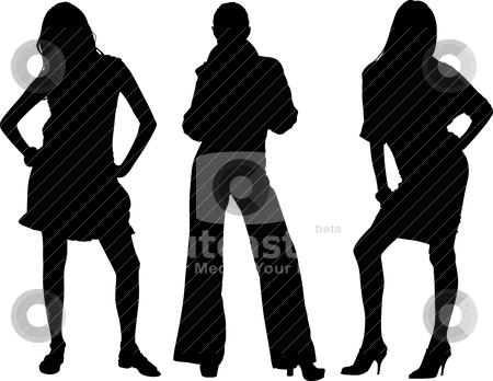 Three sexy girls vectors stock vector clipart, Three sexy girls vectors silhouette by olinchuk