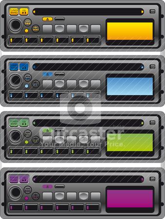 Different panel of cassette radio stock vector clipart, Vector illustration of different panel of cassette radio by olinchuk