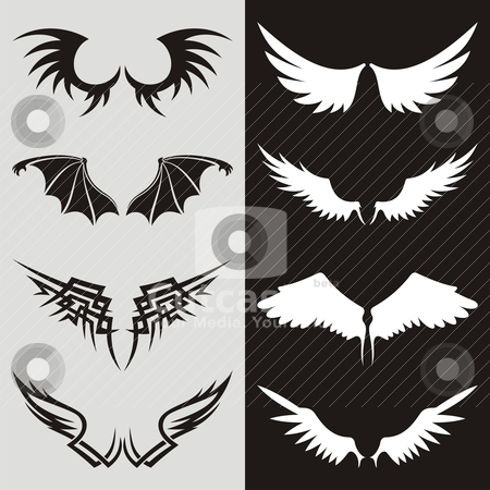Wings 02 stock vector clipart, Wing shaped design elements to give your design a flying flavor. by fractal.gr