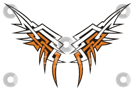 Wings tribal stock vector clipart, Tribal style wings icon tattoo in orange and white. by fractal.gr