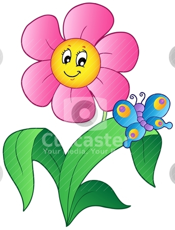 Cartoon flower with butterfly stock vector