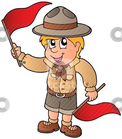Scout boy giving flag signal stock vector clipart, Scout boy giving flag signal - vector illustration. by Klara Viskova