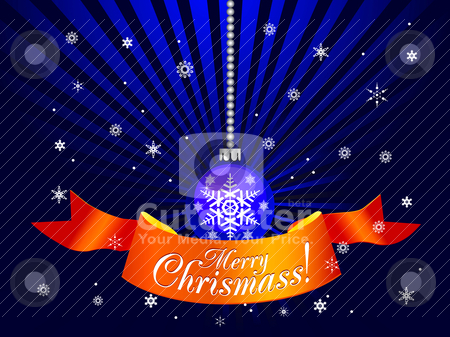 Christmas decorative ball with ribbon stock vector clipart, Christmas decorative ball with ribbon. Vector by sermax55