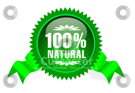 Label for natural products stock vector clipart, label with ribbon for natural products by sermax55