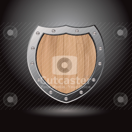 Wood shield blank light stock vector clipart, Protective wood shield icon with black background and spot light by Michael Travers