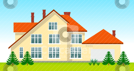 New family house in the day stock vector clipart, New family house in the day. See night version in my portfolio by sermax55