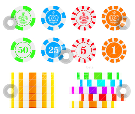 Casino chips illustration stock vector clipart, Casino chips isolated on white background.  by sermax55