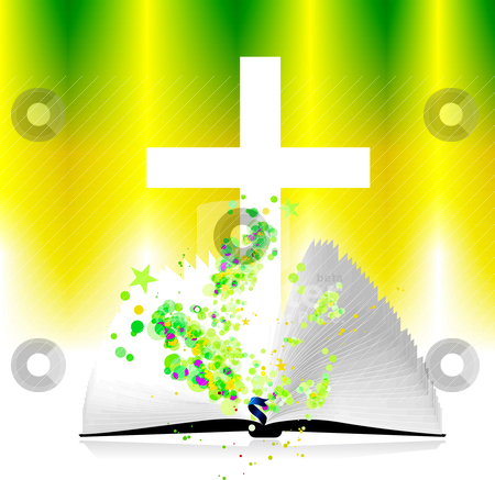 Open bible and christ,vector illustration stock vector clipart, Open bible and christ,vector illustration by sermax55