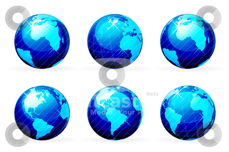 Earth icon stock vector clipart, earth icon set isolated on white background by sermax55