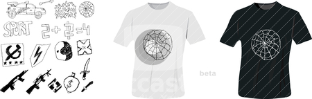 T-shirt design template  stock vector clipart, T-shirt design vector template with sample of hand draw print by sermax55