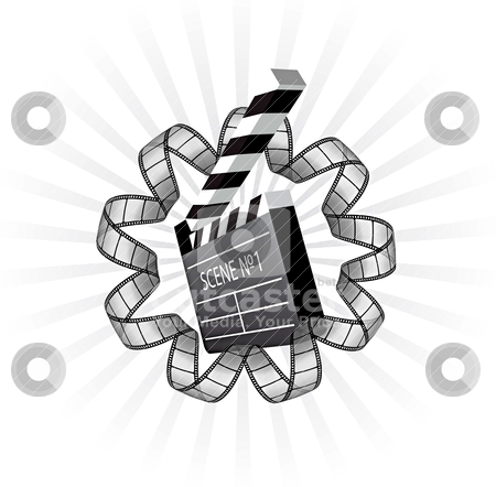 Vector clapboard and film strip  stock vector clipart, vector clapboard and film strip  by sermax55