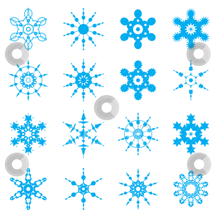Snowflake set  stock vector clipart, Vector snowflake set  by sermax55