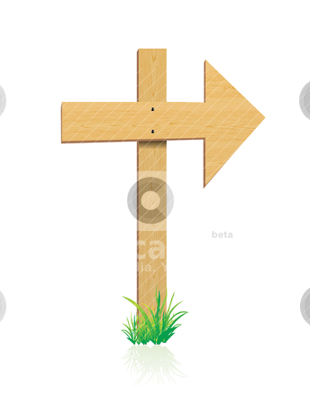 Wooden sign with grass vector stock vector clipart, wooden sign with grass vector    by sermax55