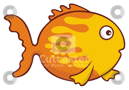 Goldfish cartoon stock vector clipart, Surprised yellow and orange goldfish cartoon illustration isolated on white background. by fractal.gr