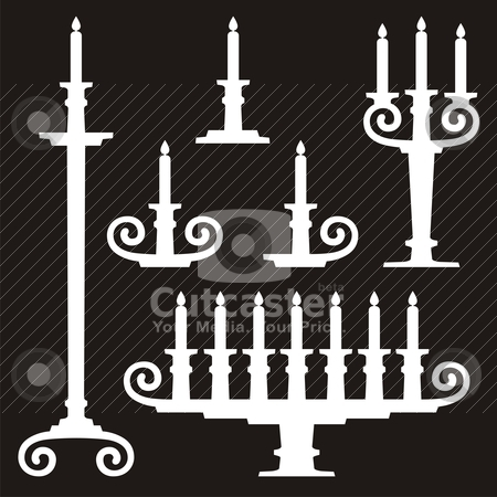 Candle stands stock vector clipart, Candles on candle stands silhouettes on black background. by fractal.gr