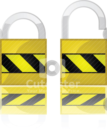 Padlocks stock vector clipart, Glossy illustration showing two padlocks, one open and one closed by Bruno Marsiaj