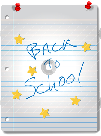 BACK TO SCHOOL star notebook education supplies stock vector clipart, BACK TO SCHOOL stars on ruled notebook paper, red tacks and A+ grade for education supplies. by Michael Brown