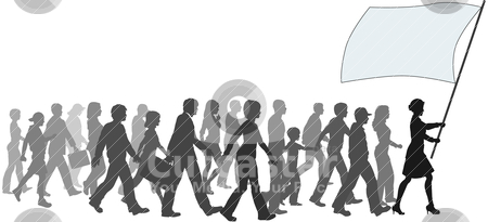 People crowd walk follow leader holding flag stock vector clipart, A crowd of people follow a leader carrying sign banner copyspace. by Michael Brown