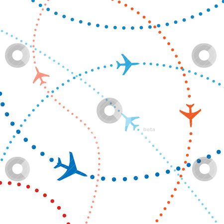 Colorful airline planes travel flights air traffic stock vector clipart, Air travel. Dotted lines are flight paths of commercial airline passenger jets flying in air traffic. by Michael Brown