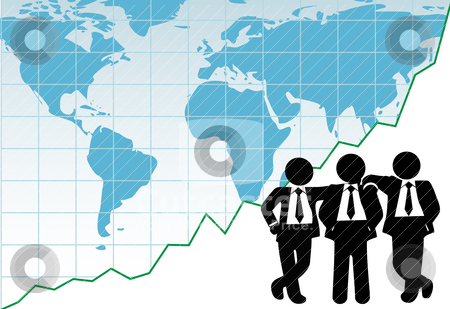 Business team global win success graph map stock vector clipart, World leader sales team in front of a financial chart of global success by Michael Brown