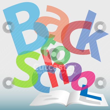 BACK TO SCHOOL words text book pages stock vector clipart, Colorful BACK TO SCHOOL words fall on open text book pages. by Michael Brown