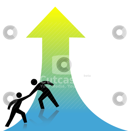 Help people get up arrow helping hand stock vector clipart, Person lends a helping hand to success up arrow to a friend. by Michael Brown