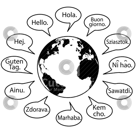 translate earth languages say hello world stock vector