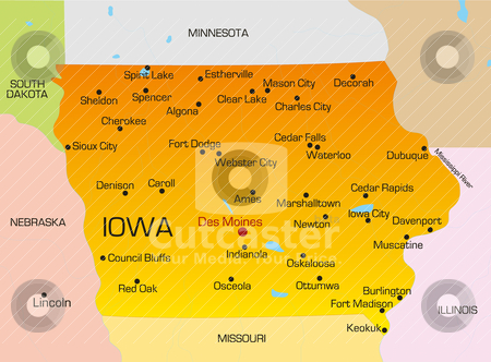 Iowa  stock vector clipart, Vector color map of Iowa state. Usa by olinchuk